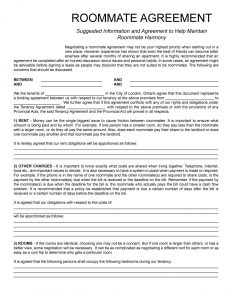 roommate contract template roommate agreement template