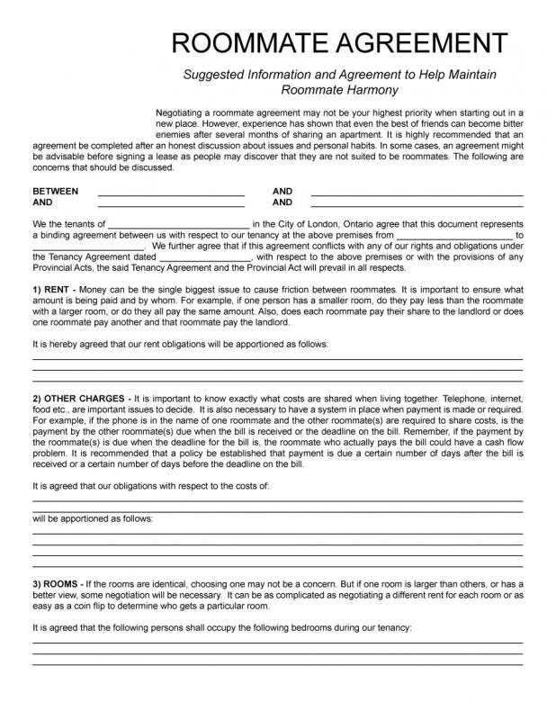 roommate contract template
