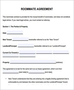 roommate contract template sample roommate rental agreement form