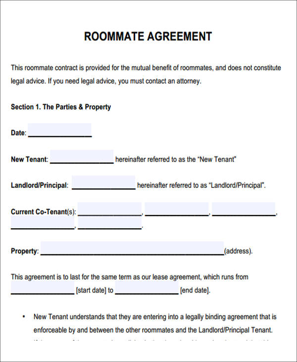 Roommate Contract Template | Template Business