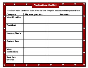 rubric template word valentine ballot pic