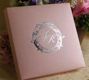rustic wedding invitation templates rose color silk box wedding invitation with flower rhinestone