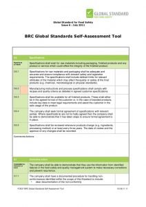 safety audit checklist brc global standards selfassessment tool for food safety issue