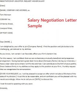salary negotiation letter sample salary negotiation letter sample