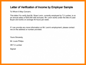 salary verification letter income letter from employer proof of income letter letter of verification of income by employer sample