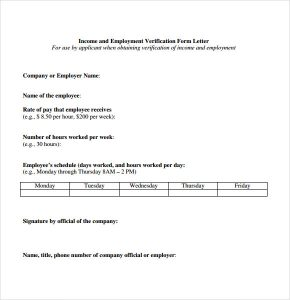 salary verification letters proof of income letter from employer