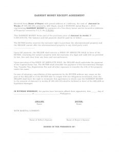 sales agreement sample earnest money receipt agreement