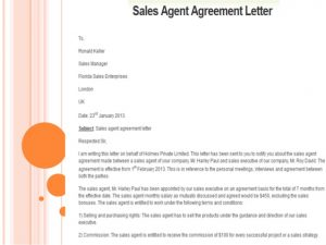 sales agreement sample sales letter