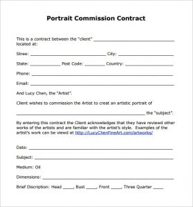 sales contract sample portrait commission contract