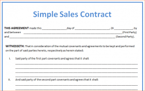 sales contract template sales contract sample