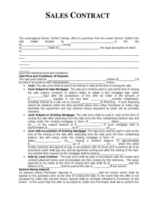 Sales Contract Template  Blank Sales Contract
