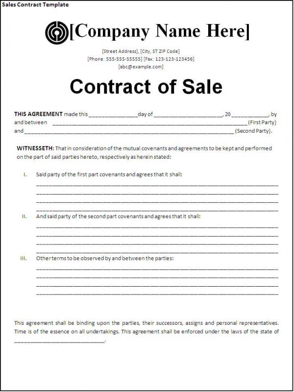 Sales Contract Template  Company Contract Template