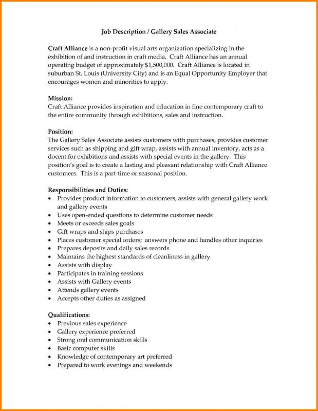 Sales Job Description  Template Business