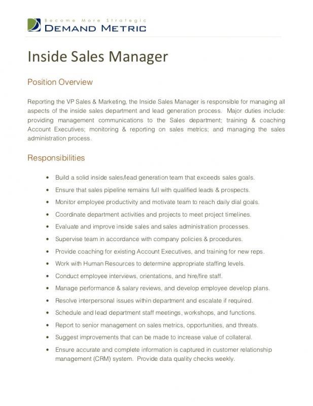 sales job description