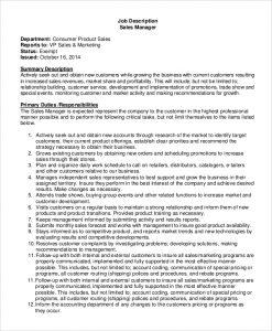 sales job description sales manager job description