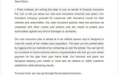sales letter samples sample marketing letter for insurance sales