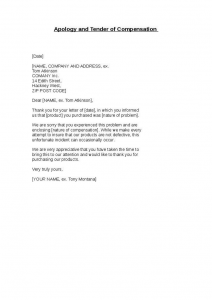 sales letters sample apology and tender of compensation
