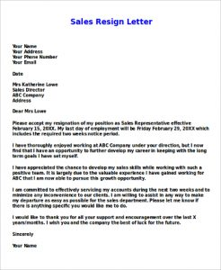sales letters sample sales resign letter example
