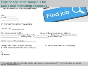 sales letters template sales and marketing executive experience letter