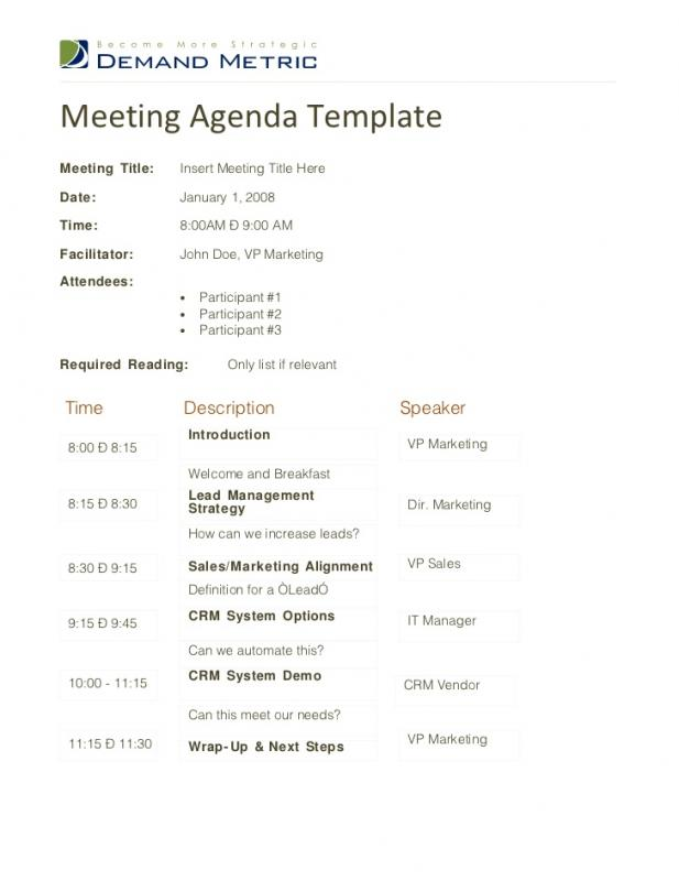 Sales Meeting Agenda  Meeting Agenda Form