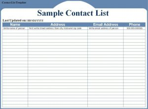 sales proposal templates contact list template