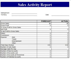 sales report template sales revenue report template