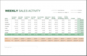 sales report template weekly sales report