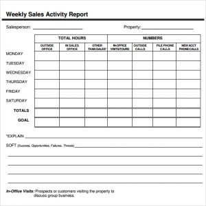 salesman report template sales report template