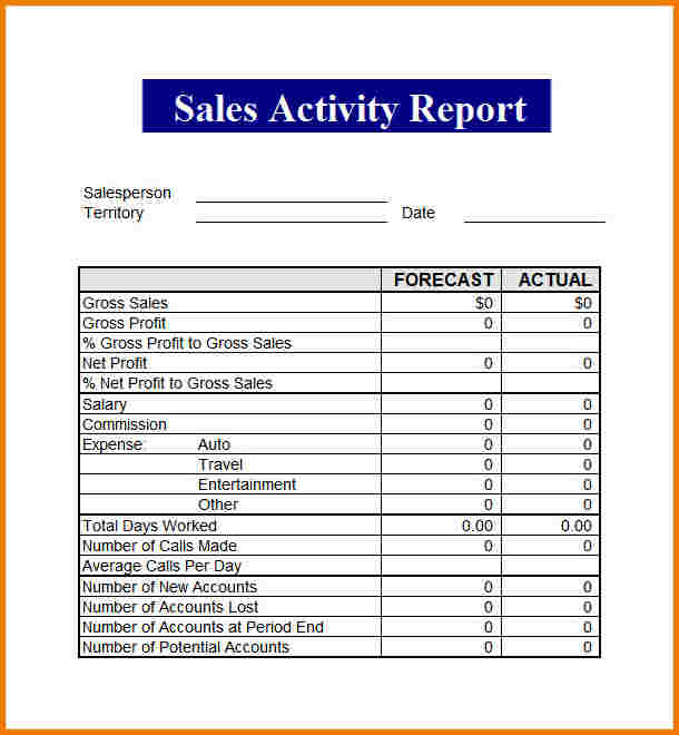salesman report template