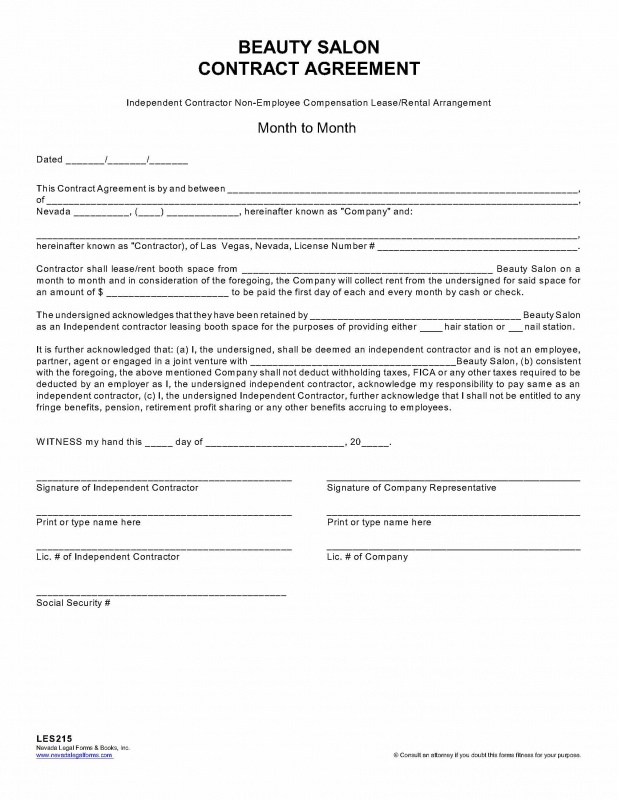 Salon Booth Rental Agreement Template Business