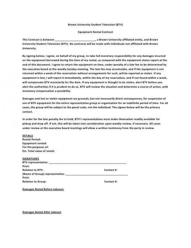 equipment rental agreement format