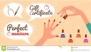 salon gift certificate template gift certificate perfect manicure nail salon vector illustration eps