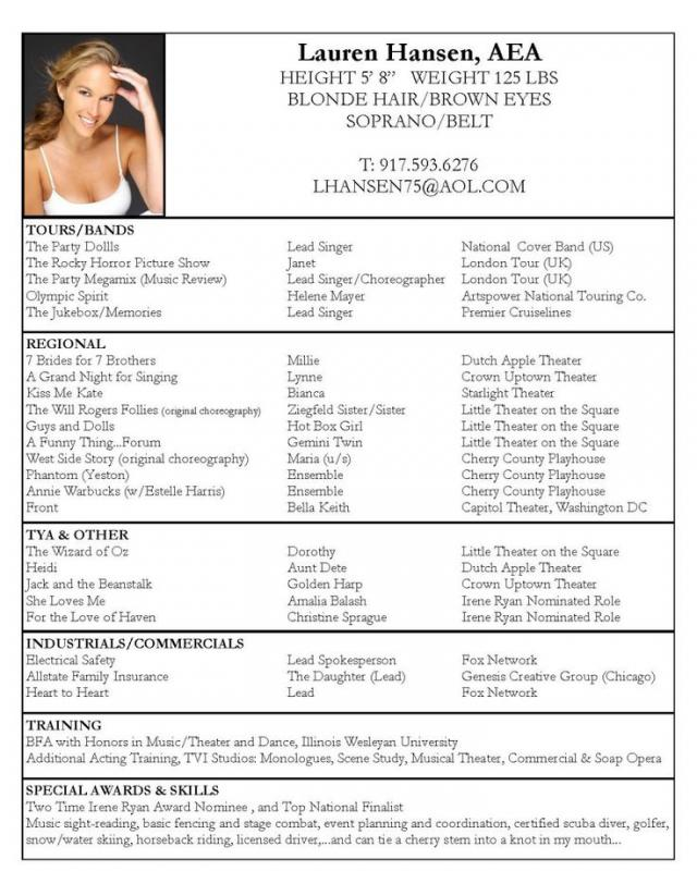 sample acting resume