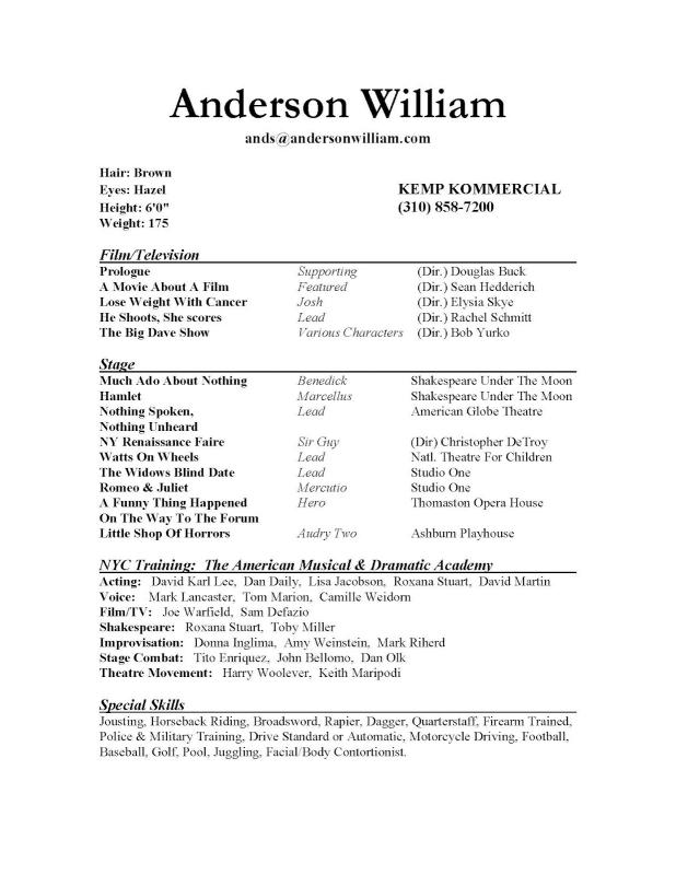 Sample Acting Resume  Template Business