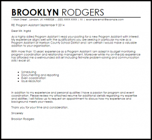 sample appeal letter program assistant