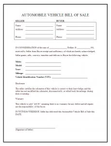 sample bill of sale for car car bill of sale