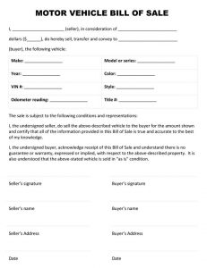 sample bill of sale for car motor vehicle bill of sale form
