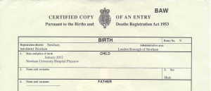 sample birth certificate birth certificate sample