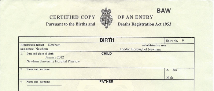 sample birth certificate