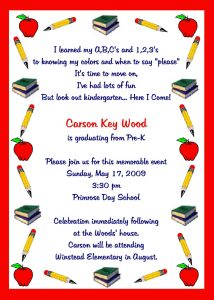 sample birthday invites graduation kindergarten graduation invitation template sample with red border x