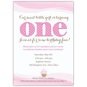 sample birthday invites little cupcake pink first birthday invitations p ccp z