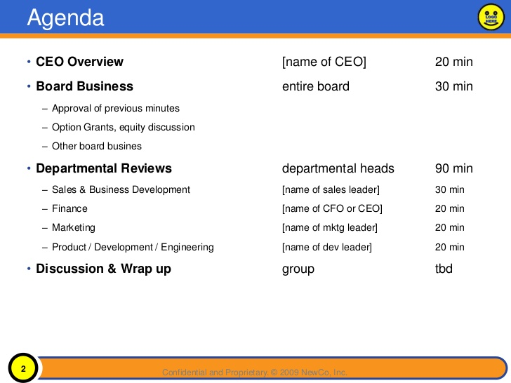 Sample Board Meeting Minutes  Template Business