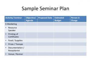 sample budget plans seminar andworkshoporientation