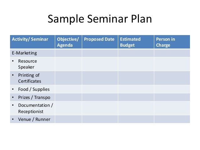 sample budget plans