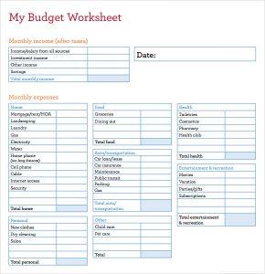 sample budget sheet my budget worksheet template