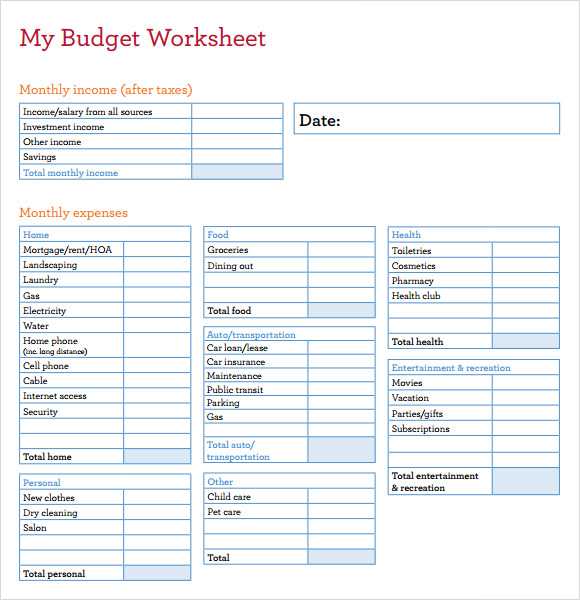 Sample Budget Sheet  Template Business
