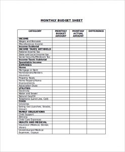 sample budget sheet sample monthly budget sheet