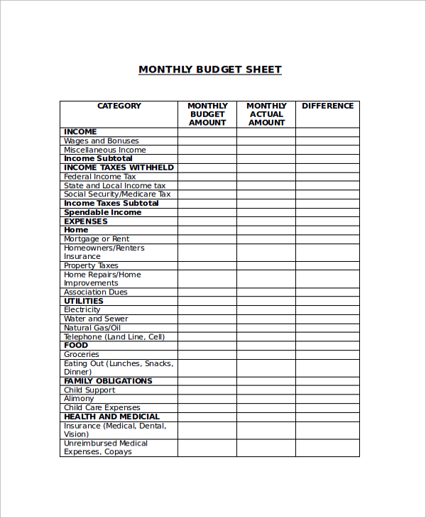 sample budget sheet