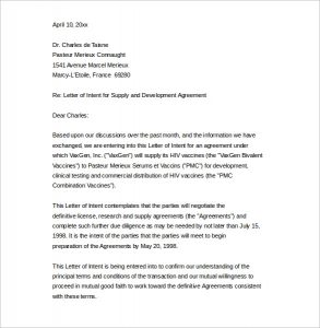 sample business letter sample business letter of intent to supply word printable
