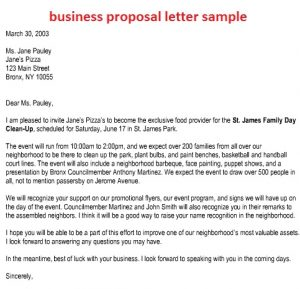 Sample Business Proposal Business Proposal Letter Sample